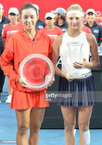 Wang Qiang of China and Dayana Yastremska of Ukraine pose for a photo in the Women's Singles final match on day seven of Prudential Hong Kong Tennis...