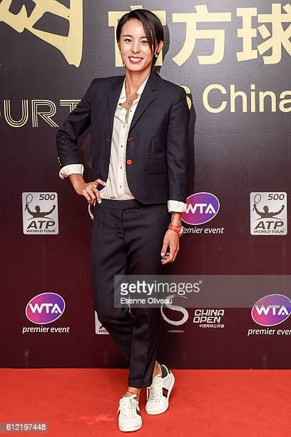 Wang Qiang of China arrives at the 2016 China Open Player Party at The Birds Nest, on October 3, 2016 in Beijing, China.