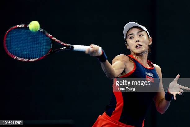 Wang Qiang of China hits a return during her Women's Singles quarterfinals match against Aryna Sabalenka of Belarus in the 2018 China Open at the...