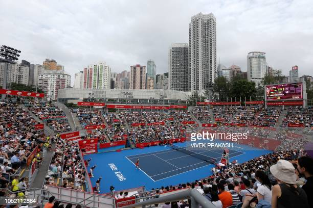Wang Qiang of China serves during her women's singles final match against Dayana Yastremska of Ukraine at the Hong Kong Open tennis tournament on...
