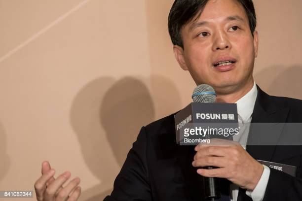 Wang Qunbin chief executive officer of Fosun International Ltd speaks during a news conference in Hong Kong China on Thursday Aug 31 2017 Fosun the...