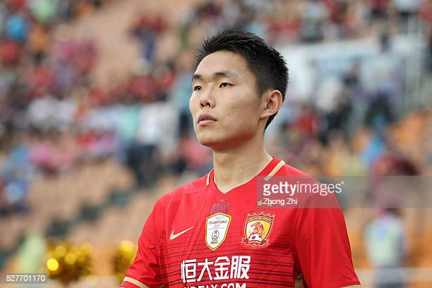 Wang Shangyuan of Guangzhou Evergrande during the AFC Asian Champions League match between Guangzhou Evergrande FC and Sydney FC at Tianhe Stadium on...