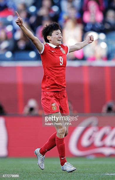 Wang Shanshan of China celebrates scoring the second goal during the FIFA Women's World Cup 2015 Group A match between China PR and New Zealand at...