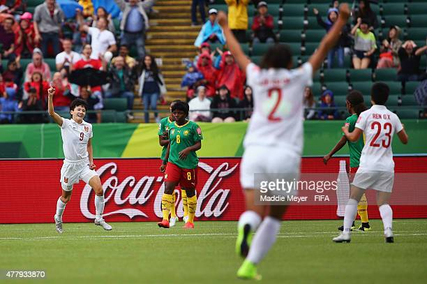 Wang Shanshan of China PR celebrates after scoring a goal during the FIFA Women's World Cup 2015 Round of 16 match between China PR and Cameroon at...