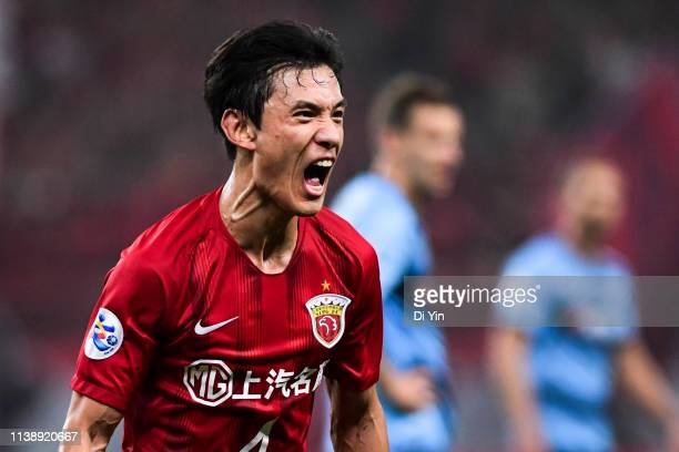 Wang Shenchao of Shanghai SIPG celebrates a goal during the AFC Champions League Group H match between Sydney FC and Shanghai SIPG at Shanghai...