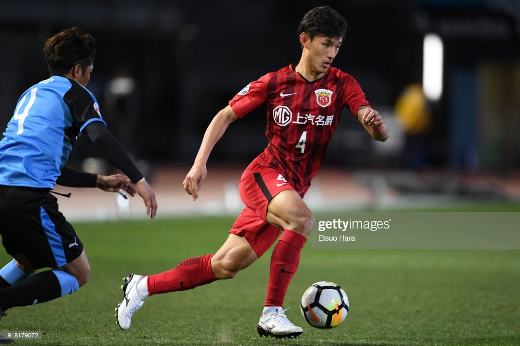 Wang Shenchao of Shanghai SIPG in action during the AFC Champions League Group F match between Kawasaki Frontale and Shanghai SIPG at Todoroki Stadium on February 13, 2018 in Kawasaki, Kanagawa, Japan.