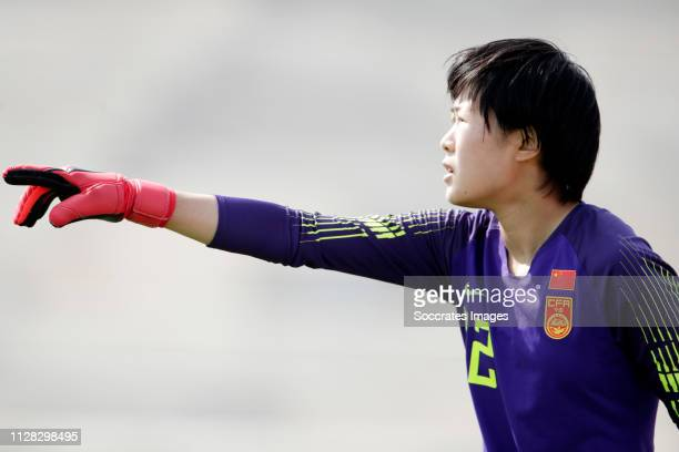 Wang Shimeng of China Women during the Algarve Cup Women match between China PR v Norway at the Estadio Municipal de Albufeira on March 1, 2019 in...