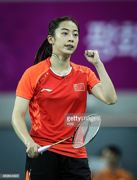 Wang Shixian competes in quarterfinal of women's team of badminton during day one of the 2014 Asian Games at Gyeyang Gymnasium on September 20 2014...