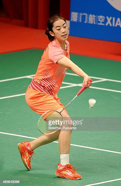 Wang Shixian of China competes against Iris Wang of USA in the 2015 Total BWF World Championship at Istora Senayan on August 11 2015 in Jakarta...