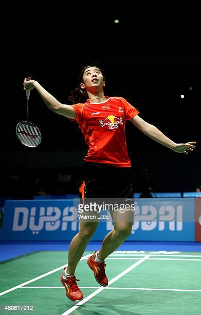 Wang Shixian of China in action against Bae Yeon Ju of Korea during the Women's Singles RR1 match on day two of the BWF Destination Dubai World...