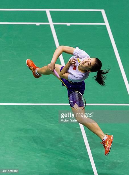 Wang Shixian of China in action against Minatsu Mitani of Japan during their women singles semifinal match during the Yonex Hong Kong Open on...