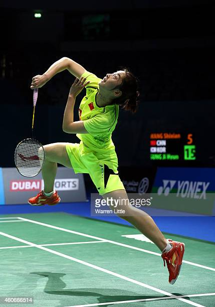 Wang Shixian of China in action against Sung Ji Hyun of Korea during Women's Singles Group B match on day three of the BWF Destination Dubai World...