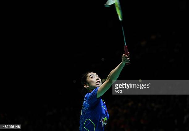 Wang Shixian of China in action during the Women's Singles match against Tai Tzu Ying of Chinese Taipei on day four of YONEX All England Open...