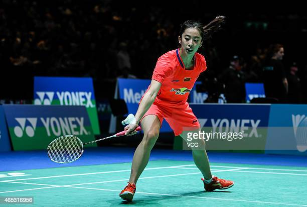 Wang Shixian of China in action during Women's Singles match against Bae Yeon Ju of South Korea on day three of YONEX All England Open Badminton...