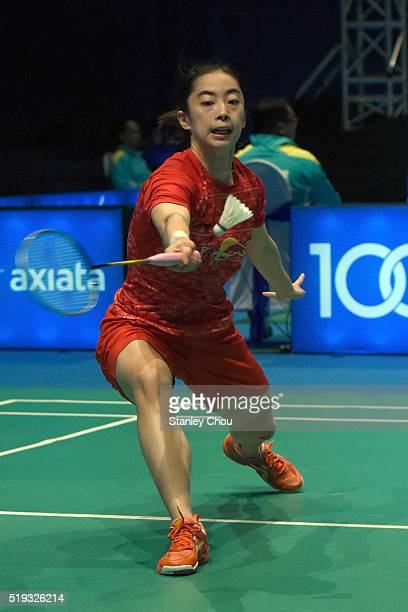 Wang Shixian of China plays to Minatsu Mitani of Japan in the Women Singles during round one of the BWF World Super Series Badminton Malaysia Open at...