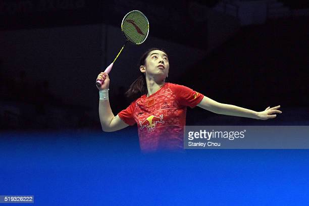 Wang Shixian of China watches the shuttle during her match against Minatsu Mitani of Japan in the Women Singles during round one of the BWF World...