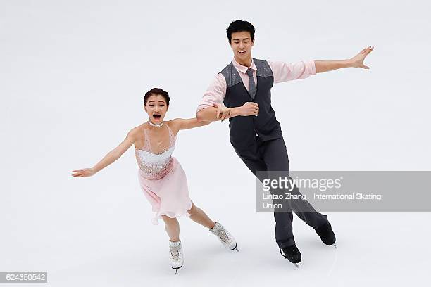Wang Shiyue and Liu Xinyu of China compete in the Ice Dance Free Dance on day two of Audi Cup of China ISU Grand Prix of Figure Skating 2016 at...