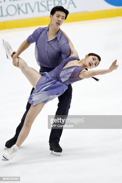 Wang Shiyue and Liu Xinyu of China compete in the Pairs' free dance event on October 8 2017 at the ISU figure skating Finlandia Trophy competition at...