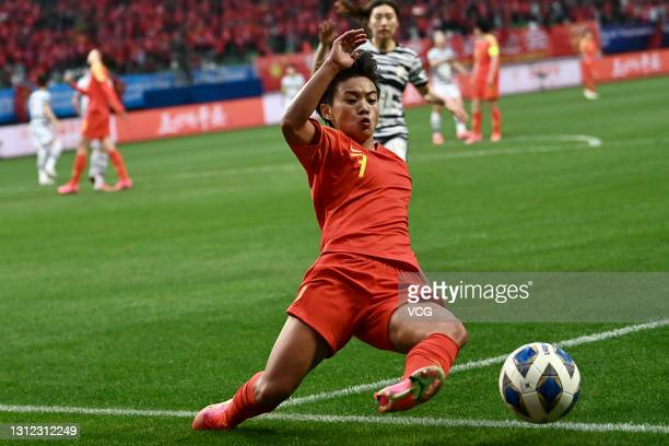 Wang Shuang of China competes for the ball during the Tokyo Olympics Women's Football Asian Final Qualifier 2nd leg match between China and South...