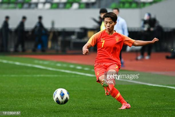 Wang Shuang of China passes the ball during the Tokyo Olympics Women's Football Asian Final Qualifier 2nd leg match between China and South Korea at...