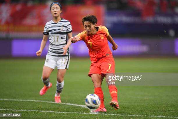 Wang Shuang of China scores her team's second gial during the Tokyo Olympics Women's Football Asian Final Qualifier 2nd leg match between China and...