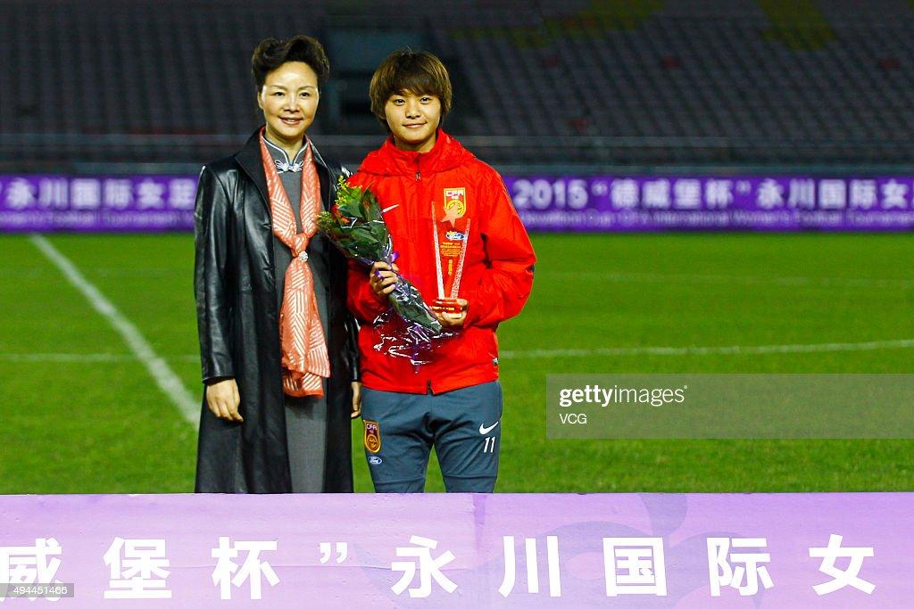Wang Shuang of China wins the Best Goal Shooter after the 2015 Yongchuan Women's Football International Matches at Yongchuan Sports Center on October 27, 2015 in Yongchuan, Chongqing of China.