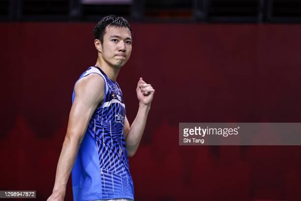Wang Tzu Wei of Chinese Taipei celebrates the victory in the Men's Singles round robin match against Ng Ka Long Angus of Hong Kong on day one of the...
