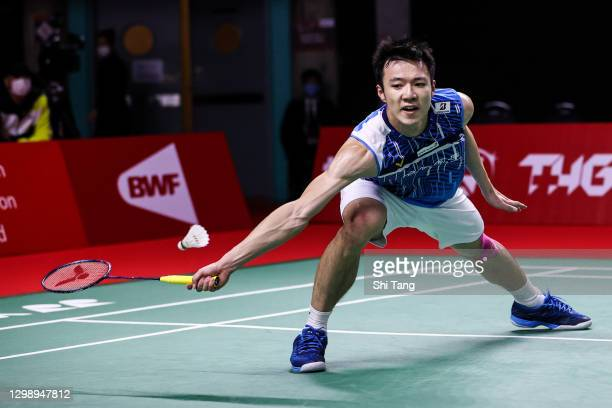 Wang Tzu Wei of Chinese Taipei competes in the Men's Singles round robin match against Ng Ka Long Angus of Hong Kong on day one of the HSBC BWF World...