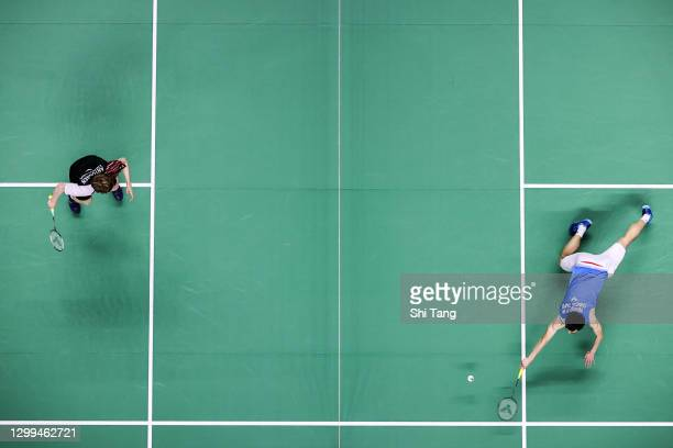 Wang Tzu Wei of Chinese Taipei competes in the Men's Singles semi finals match against Anders Antonsen of Denmark on day four of the HSBC BWF World...