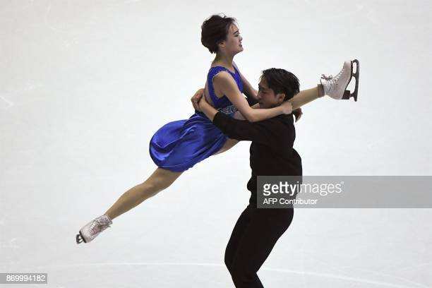 TOPSHOT Wang Xiaotong and Zhao Kaige of China perform during the Ice Dance Free Dance at the Cup of China ISU Grand Prix of Figure Skating in Beijing...