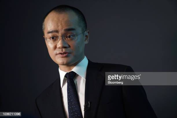 Wang Xing chairman chief executive officer and cofounder of Meituan Dianping speaks during a Bloomberg Television interview following the company's...