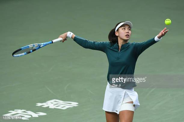 Wang Xinyu of China in action during the Women's singles first round against Zheng Saisai of China on day 2 of the 2020 CTA Tour 800 1000 Finals...