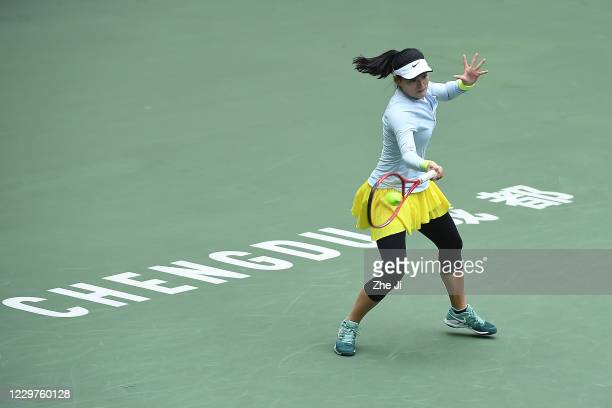 Wang Yafan of China in action during the Women's singles first round against Liu Fangzhou of China on day 2 of the 2020 CTA Tour 800 1000 Finals...