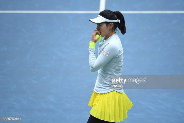 Wang Yafan of China looks on during the Women's singles first round against Liu Fangzhou of China on day 2 of the 2020 CTA Tour 800 1000 Finals...