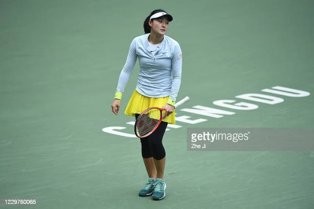 Wang Yafan of China reacts during the Women's singles first round against Liu Fangzhou of China on day 2 of the 2020 CTA Tour 800 1000 Finals Chengdu...