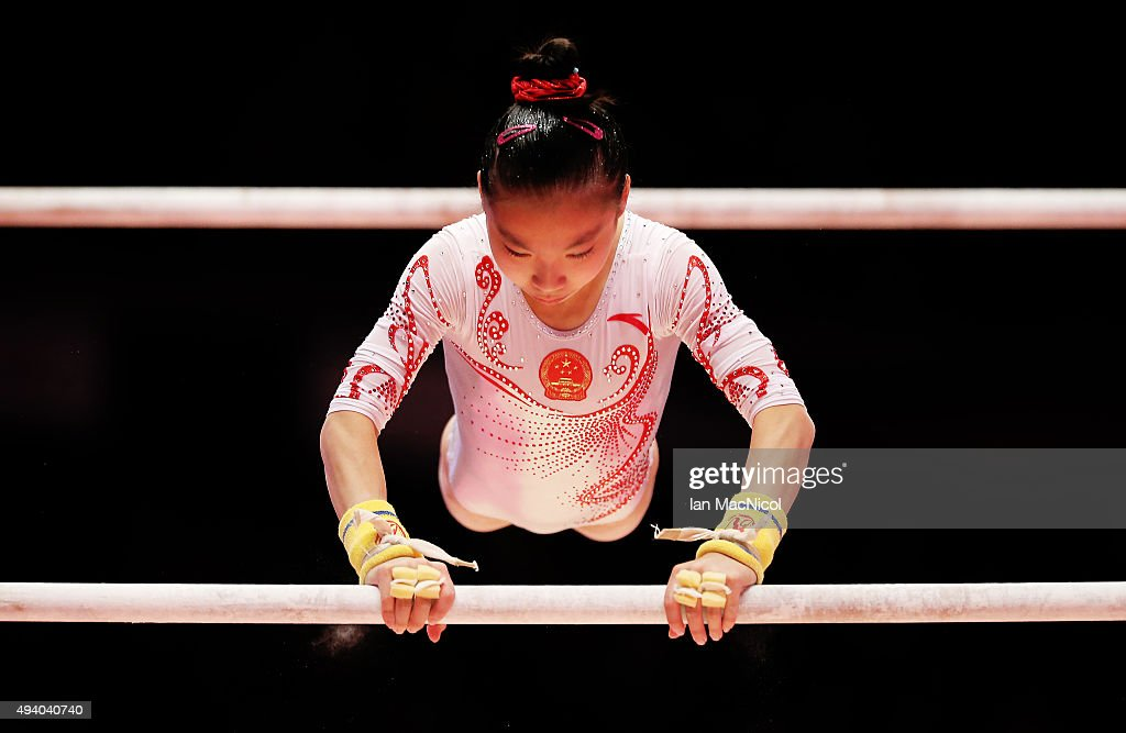 Wang Yan of China competes on the Uneven Bars during day Two of the 2015 World Artistic Gymnastics Championships at The SSE Hydro on October 24, 2015 in Glasgow, Scotland.