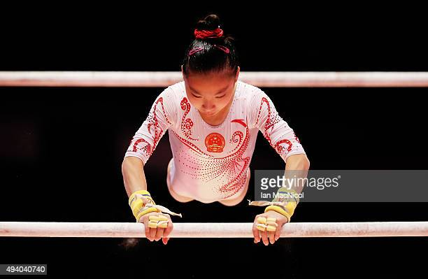 Wang Yan of China competes on the Uneven Bars during day Two of the 2015 World Artistic Gymnastics Championships at The SSE Hydro on October 24 2015...