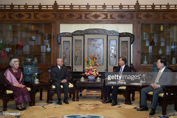 Wang Yang chairman of the Chinese People's Political Consultative Conference meet with Cambodia's King Norodom Sihamoni and his mother former queen...