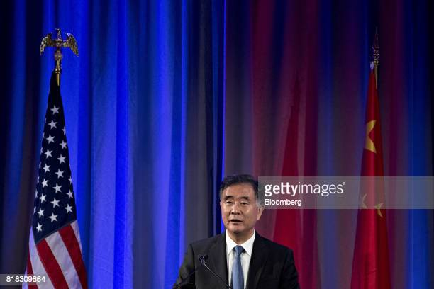 Wang Yang China's vice premier speaks during a reception ahead of the USChina Comprehensive Economic Dialogue meeting in Washington DC US on Tuesday...