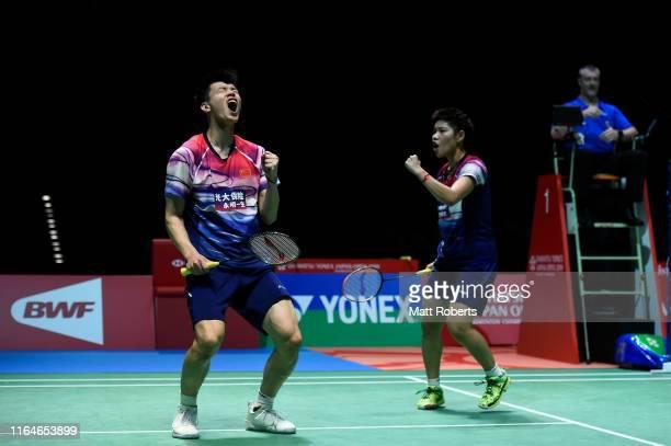 Wang Yi Lyu and Huang Dong Ping of China celebrate in the Mixed Doubles Final match after defeating Praveen Jordan and Melati Daeva Oktavianti of...
