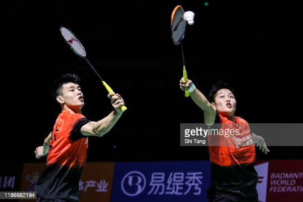 Wang Yilyu and Huang Dongping of China compete in the Mixed Double final match against Zheng Siwei and Huang Yaqiong of China on day six of the...