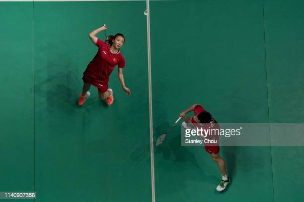 Wang Yilyu and Huang Dongping of China in action on day six of the Badminton Malaysia Open at Axiata Arena on April 07 2019 in Kuala Lumpur Malaysia