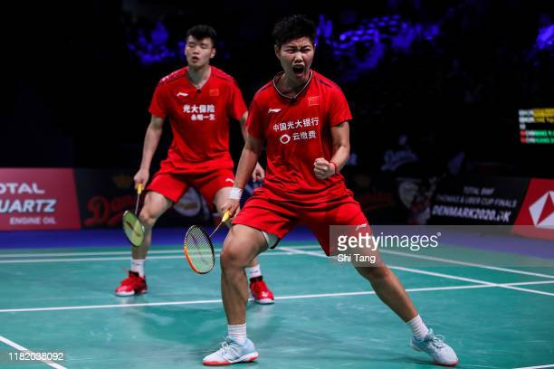 Wang Yilyu and Huang Dongping of China react in the Mixed Doubles semi finals match against Seo Seung Jae and Chae Yujung of Korea on day five of the...