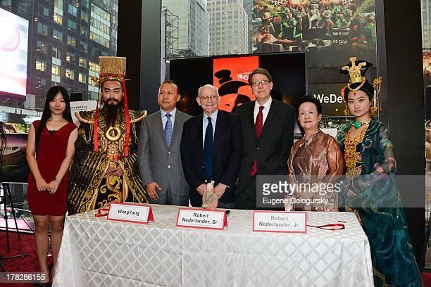 """Wang Yong, Robert Nederlander Sr, Bob Nederlander Jr and Pan Yang attend """"The Legend of Emperor Qin"""" Press Preview at Minskoff Theatre on August 28,..."""