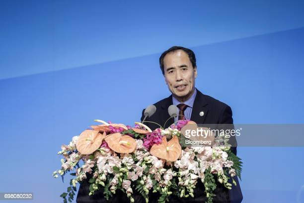 Wang Zhaoxing vice chairman of the China Banking Regulatory Commission speaks during the Lujiazui Forum in Shanghai China on Tuesday June 20 2017...