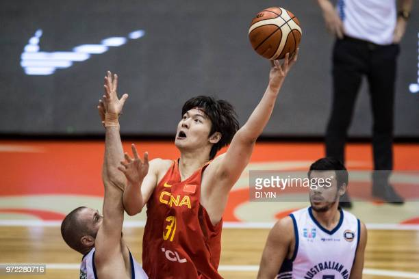 Wang Zhelin of China shoots the ball during the 2018 SinoAustralian Men's Internationl Basketball Challenge match between the Chinese National Team...