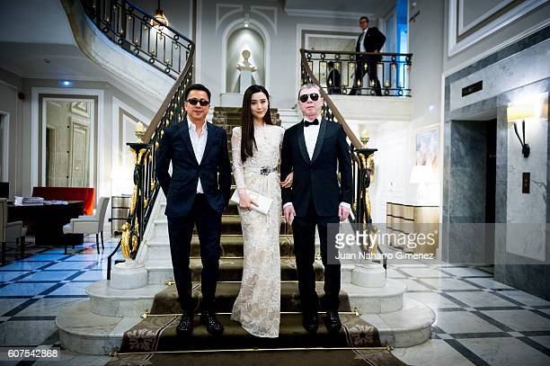 Wang Zhonglei Fan Bingbing and Fen Xiaogang are seen posing at Hotel Maria Cristina on September 18 2016 in San Sebastian Spain