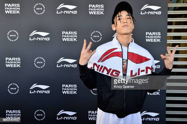 Wang Ziyi Jeffrey Dong and Xu Xaicheng attend the LiNing Spring/Summer 2019 show as part of Paris Fashion Week at Les Nuits Fauves on June 21 2018 in...