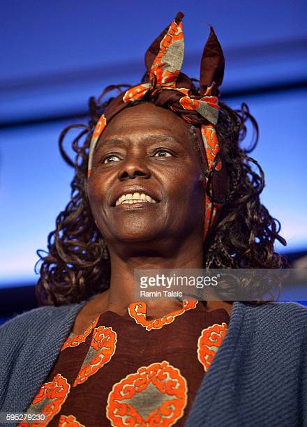 Wangari Maathai Nobel Peace Prize winner and Founder of the Green Belt Movement smiles as he looks on during the final session of the annual Clinton...