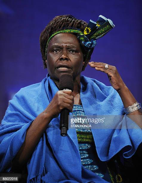 Wangari Muta Maathai Founder Green Belt Movement Kenya speaks at the Clinton Global Initiative September 26 2008 in New York The threeday event will...